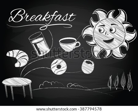 sun enjoys a new morning and breakfast - stock vector