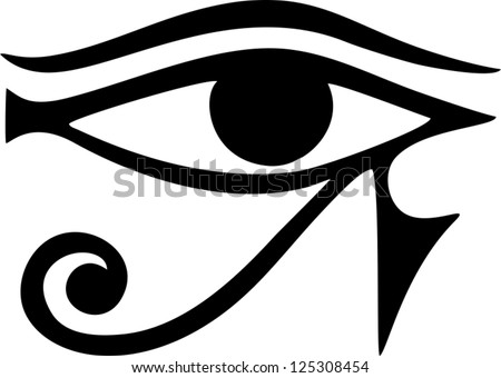 Sun Eye of Horus - reverse Moon Eye of Thoth / EYE OF HORUS - vector image / ancient Egyptian symbol of protection - stock vector
