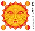 sun face woodcut with moon fazes, red and yellow with neutral face expression original vector illustration - stock