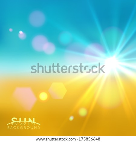 Sun flare background - stock vector