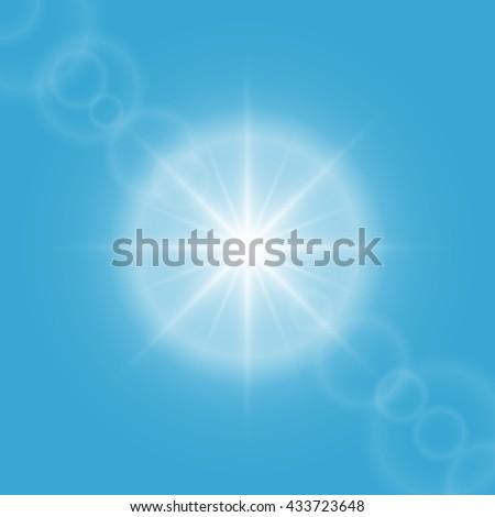Sun flare on blue sky vector background. - stock vector