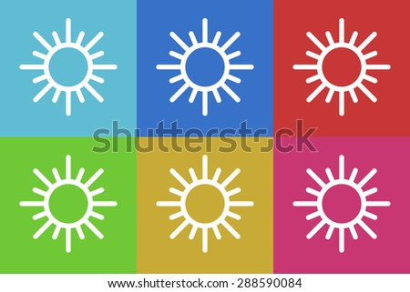 sun flat design modern vector icons set for web and mobile app - stock vector