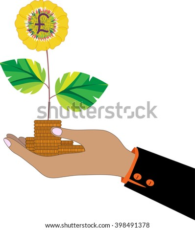 Sun flower with coins in hand, a symbol of financial success.