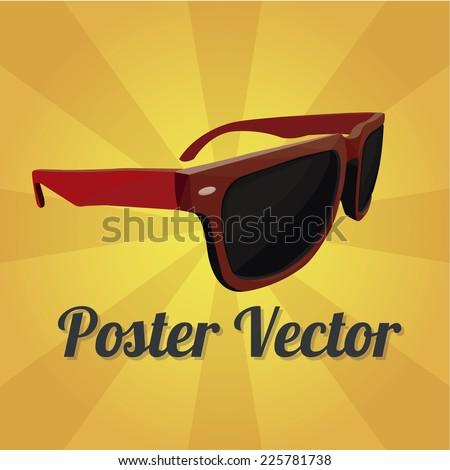 Sun glasses illustration over color background - stock vector