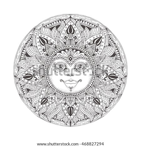 Sun. Hand-drawn floral ornament. Pattern in black and white. Adult coloring book page and tattoo design. Vector illustration. Zendoodle.