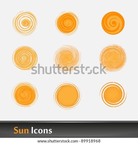Sun icon collection - stock vector