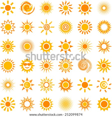Sun icon collection - vector illustration  - stock vector