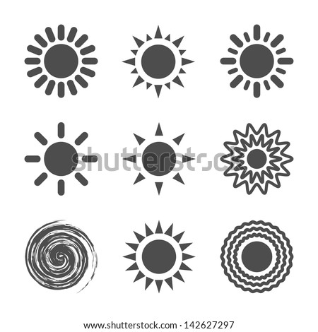 Sun icon. Vector illustration.