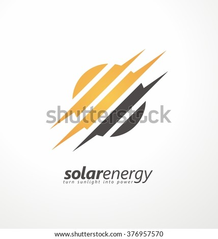 Sun icon with subtle bolt shapes. Solar energy logo design concept. Creative sign template. Renewable energy symbol. Power icon layout. - stock vector