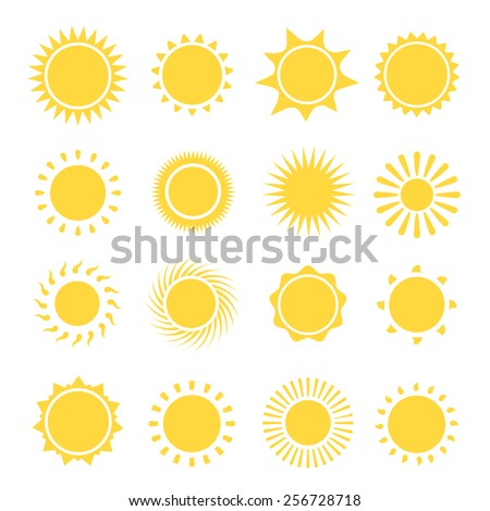 Sun icons collection.  The sun sets straight, florid and twisted rays on white background. Vector illustration Vector illustration - stock vector