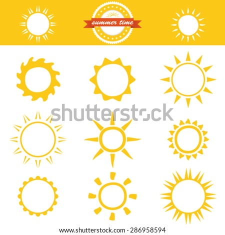 Sun icons collection. Vector illustration - stock vector
