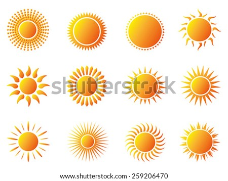 sun icons set - stock vector