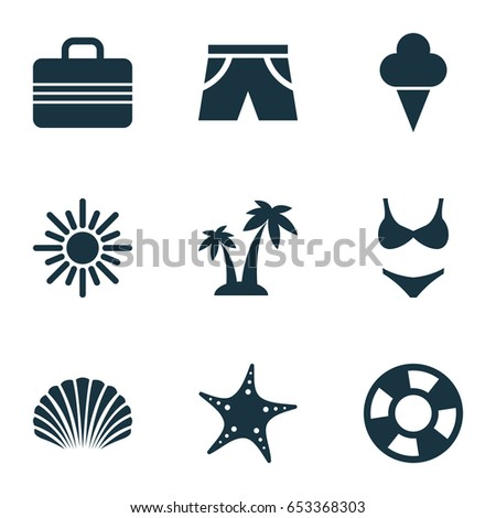 Sun Icons Set. Collection Of Bikini, Star, Sunny And Other Elements. Also Includes Symbols Such As Conch, Shorts, Ice.