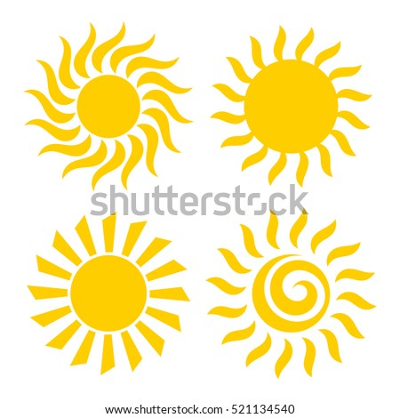 Sun icons set illustration