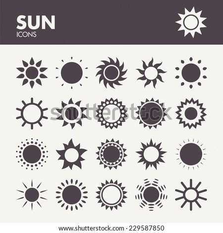 Sun. Icons set in vector - stock vector