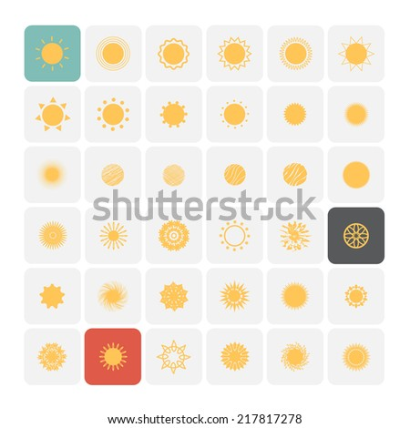Sun icons. Vector Illustration. - stock vector
