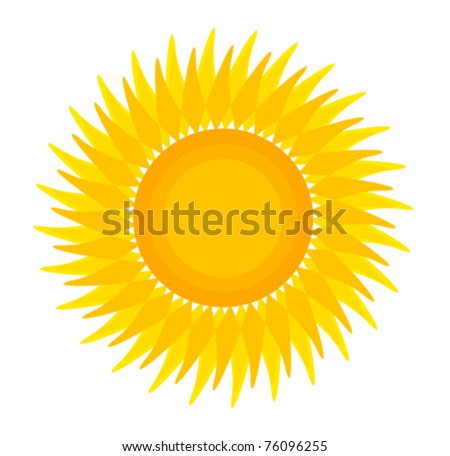 Sun illustration isolated over white. Vector icon - stock vector