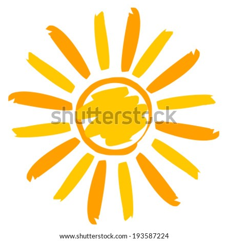 Sun illustration painted. Vector icon - stock vector