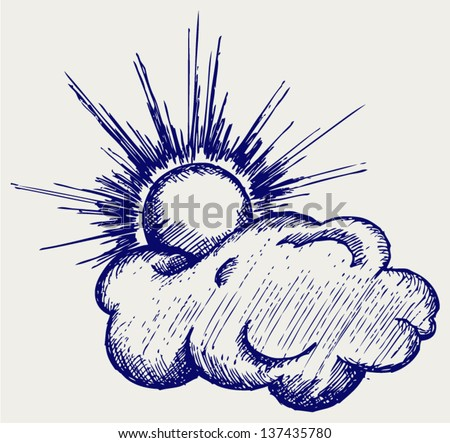 Sun in the clouds. Doodle style - stock vector