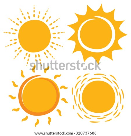 sun in various shape - stock vector