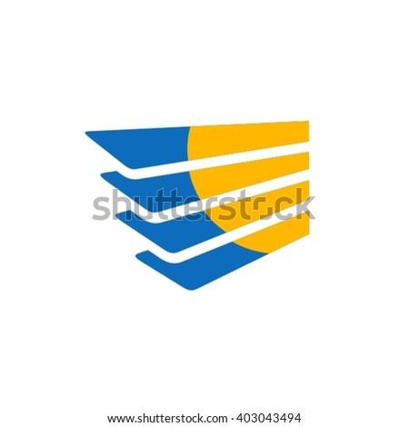 Sun in window logo - stock vector