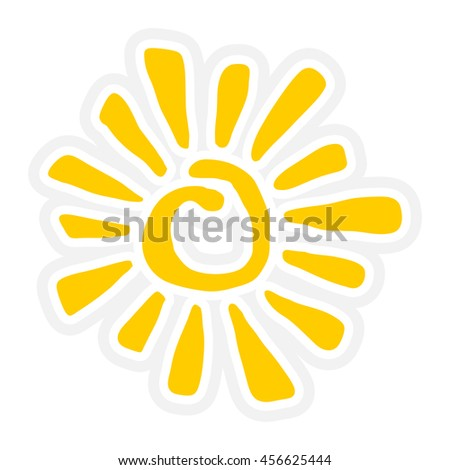 Sun Inky Tribal Symbol Stylized vector icon