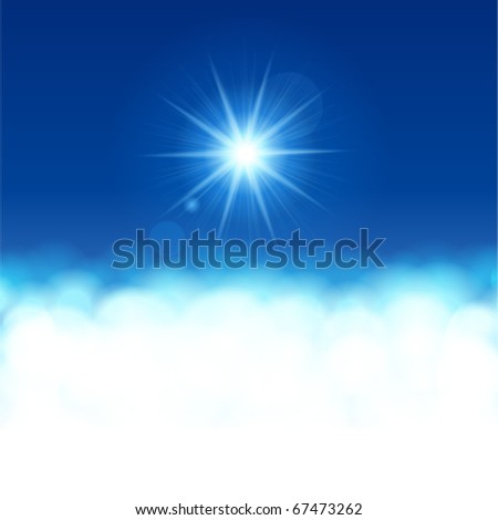 Sun  lens flare with clouds vector background - stock vector