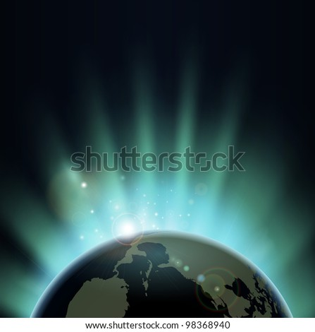 Sun light bursting over the earth at sunrise or sunset. Background with copy space, America in foreground. - stock vector
