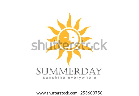 Sun Logo design vector template. Day Night Sun Moon Logotype concept icon. - stock vector