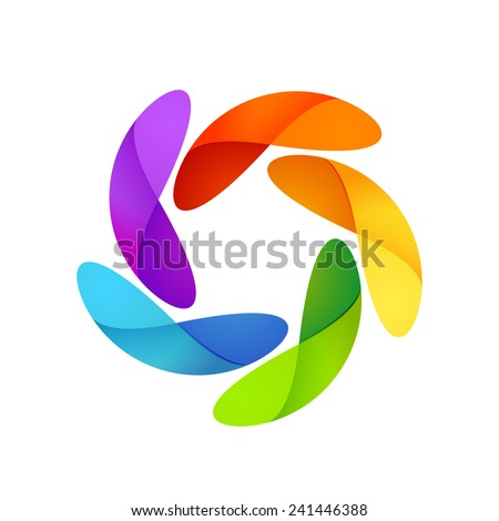 Sun logo. Five volume looped infinity logotype. Infinite loop. - stock vector