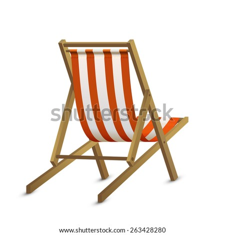 Sun lounger with red stripe isolated on white background, illustration. - stock vector