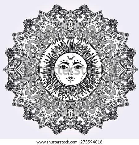 Sun Mandala. Round Ornament Pattern. Vintage decorative vector elements isolated. Hand drawn background. Islam, Arabic, Indian, ottoman motifs. Retro banner, invitation, wedding card, scrap booking.  - stock vector