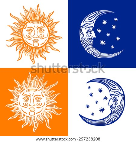 Sun, month and stars.Vector in vintage style folklore - stock vector