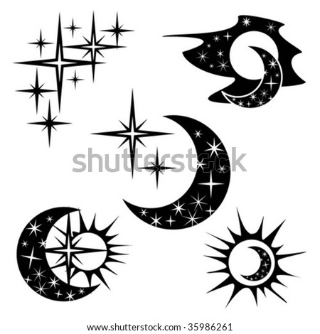 sun moon stars day night stock vector 35986261 shutterstock. Black Bedroom Furniture Sets. Home Design Ideas
