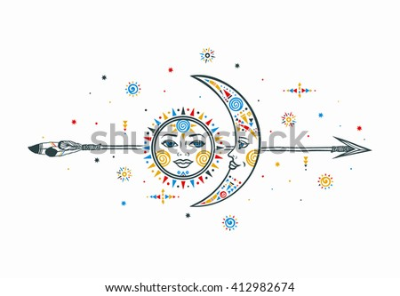 Sun moon vector illustration with faces and arrow in ethnic bohemian style. Concept of male female relationship with small ethnic geometric elements. Vector hipster sun moon graphic.