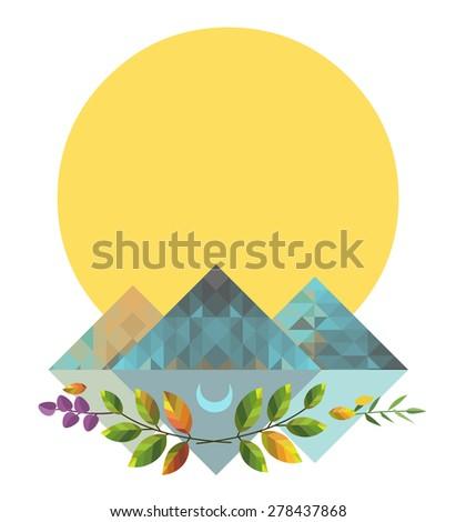 Sun, mountains, green branches. Vector illustration in boho style.  - stock vector