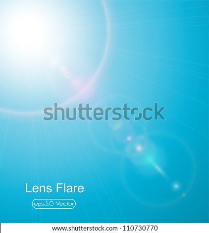 Sun on blue sky with lenses flare - vector illustration - stock vector