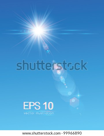 Sun on blue sky with lenses flare (vertical) - vector illustration. - stock vector