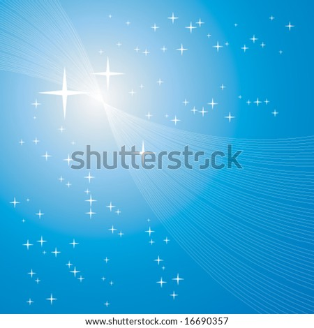 sun or starburst over blue with many tiny stars, christmas background - stock vector