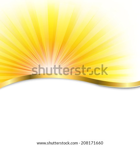 Sun Poster With Beams, With Gradient Mesh, Vector Illustration - stock vector
