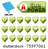 sun power and power button set - stock photo