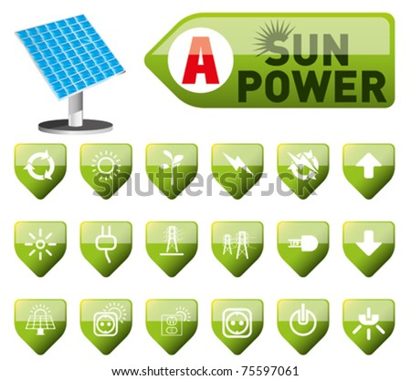 sun power and power button set - stock vector