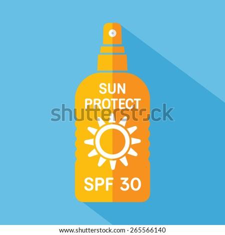 Sun protect vector flat icon - stock vector