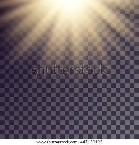 Sun rays effect. Simple golden beams blurred on transparent like background.