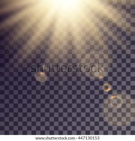 Sun rays effect with lens flares. Simple golden beams blurred on transparent like background.