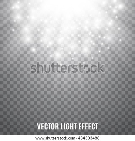 Sun rays, sparkles, flash on transparent background. Glowing spots. Flare. Explosion. Light effect. Vector illustration. - stock vector