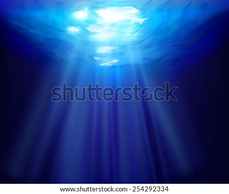 Sun rays underwater. Vector illustration. - stock vector