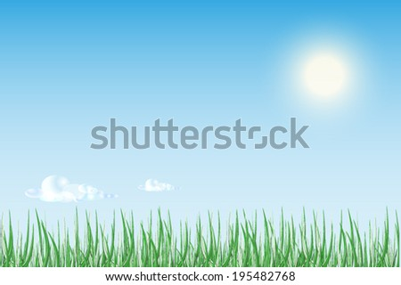 Sun rise or sunset over  green field of grass with bright blue sky. - stock vector
