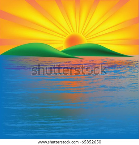 Sun rise over tropical island - stock vector