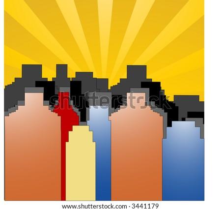sun rising setting over the city vector - stock vector
